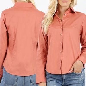 Zenana Outfitters Tops - Long Sleeve Button Down Shirt